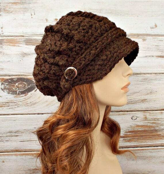 Crochet Hat Womens Hat Brown Newsboy Hat Brown Hat - Spring Monarch Ribbed Crochet Newsboy Hat Brown Crochet Hat - READY TO SHIP