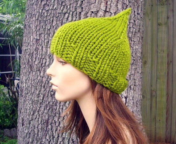 Knit Hat Womens Hat - Gnome Hat in Lemongrass Green Knit Hat - Womens Accessories Winter Hat