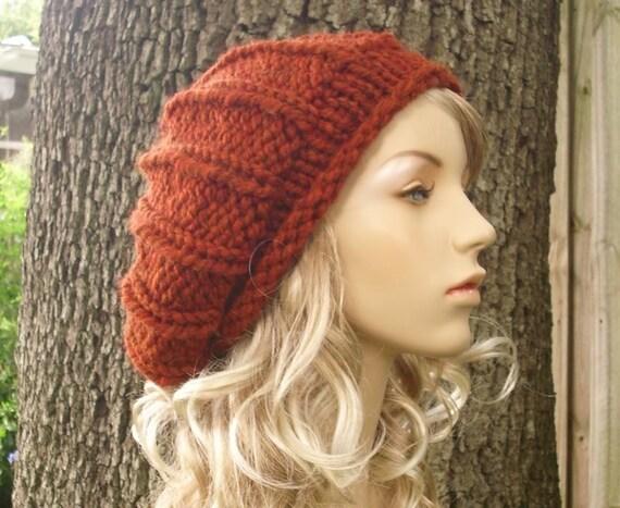 Knit Hat Orange Womens Hat - Rolled Brim Ribbed Beret Hat in Rust Orange Knit Hat - Orange Hat Orange Beret Orange Beanie Womens Accessories