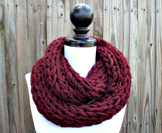 Chunky Knit Scarf Thick Red Claret Cowl Scarf, Womens Knit Circle Scarf, Chunky Polar Infinity Cowl - Knit Accessories