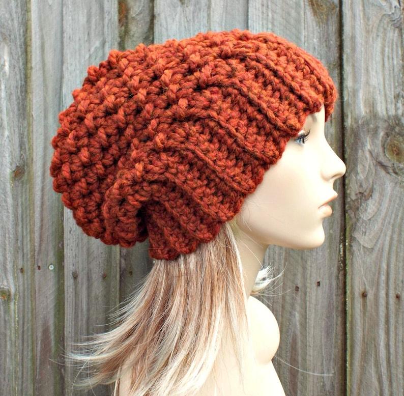 39d92ff4335 Burnt Orange Crochet Hat Women Slouchy Beanie Slouchy Hat