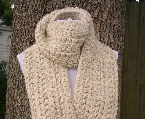 Wheat Cream Crocheted Scarf - New Englander Chunky Oversized Scarf - Womens Accessories Womens Scarf Mens Scarf Fall Fashion Winter Scarf