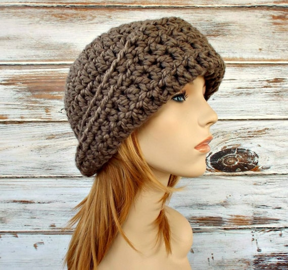 Crochet Hat Womens Hat 1920s Flapper Hat - Garbo Cloche Hat in Taupe Brown Crochet Hat - Brown Hat Taupe Hat Brown Cloche