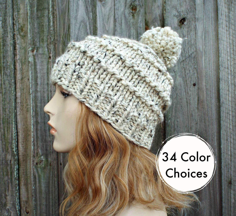 95a307ae70f Womens Pom Pom Hat - Chunky Knit Hat Women - Hand Knit Hat Men - Oatmeal  Hat Oatmeal Beanie - Tier Beanie Warm Winter Hat