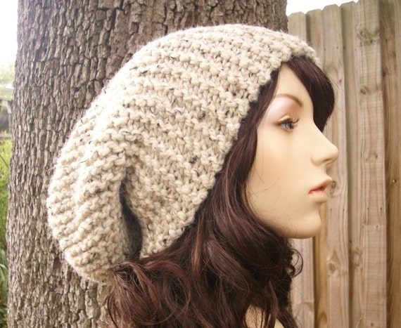 Knit Hat Womens Hat Mens Hat Slouchy Beanie - Slouchy Hat in Oatmeal Knit Hat - Oatmeal Hat Oatmeal Beanie Womens Accessories Winter Hat