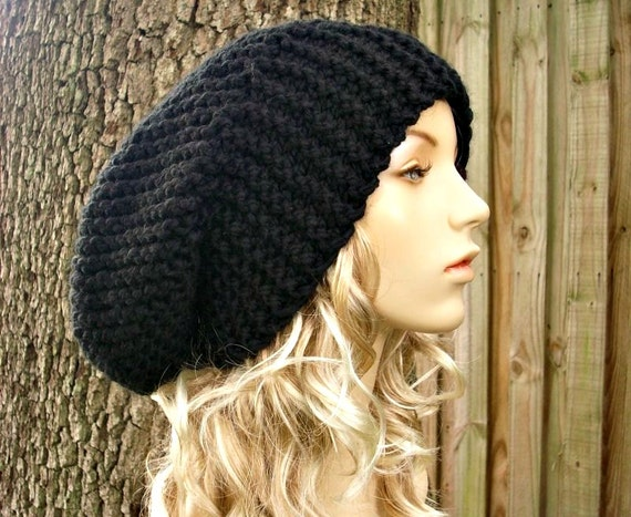 Black Knit Hat Black Womens Hat Black Slouchy Beanie - Black Slouchy Hat Black Mens Hat - Black Hat Black Beanie
