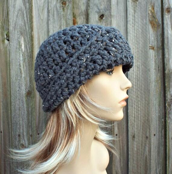 Crochet Hat Womens Hat 1920s Flapper Hat Garbo Cloche Hat Graphite Grey Crochet Hat - Grey Hat Grey Beanie Winter Hat - READY TO SHIP