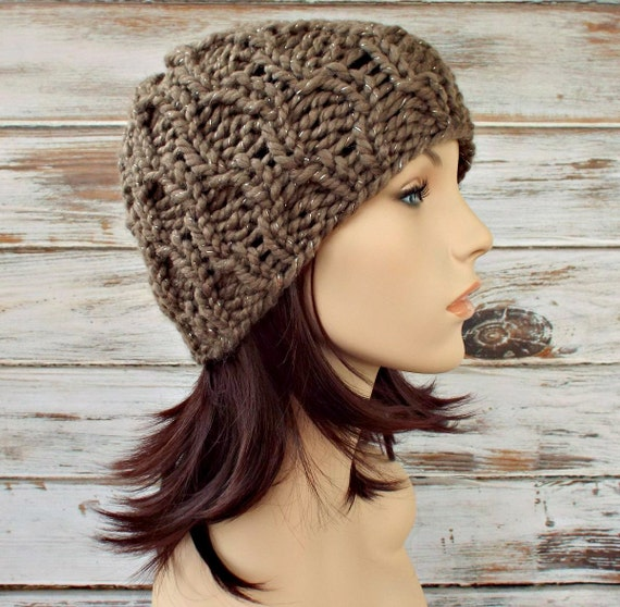 Taupe Womens Hat Mens Hat - Amsterdam Cable Beanie Gemstone Metallic Taupe Knit Hat - Taupe Hat Taupe Beanie Womens Accessories Winter Hat