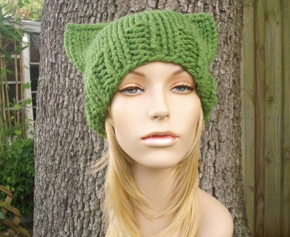 Green Womens Hat - Green Cat Beanie Grass Green Knit Hat - Green Hat Green Beanie Green Cat Hat Womens Accessories Winter Hat