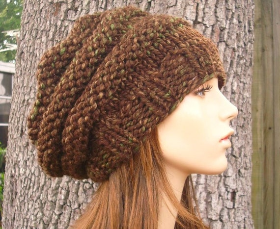 Knit Hat Womens Hat - Oversized Beehive Beret Slouchy Hat in Mesquite Brown Knit Hat - Brown Hat Brown Beret Brown Beanie Womens Accessories