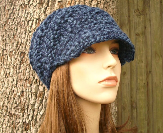 Knit Hat Blue Womens Hat Blue Newsboy Hat - Swirl Beanie with Visor in Mixed Blue Knit Hat - Blue Hat Blue Beanie Womens Accessories
