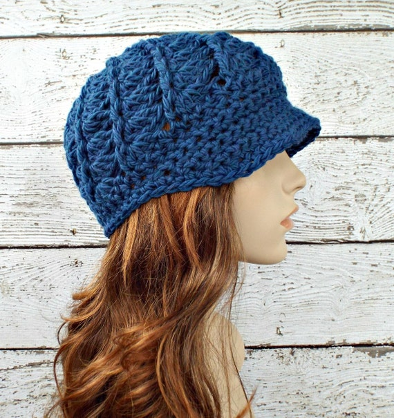 Peacock Blue Newsboy Hat Blue Crochet Hat Blue Womens Hat - Pippa Swirl Crochet Newsboy Hat - Blue Hat Blue Beanie Womens Accessories