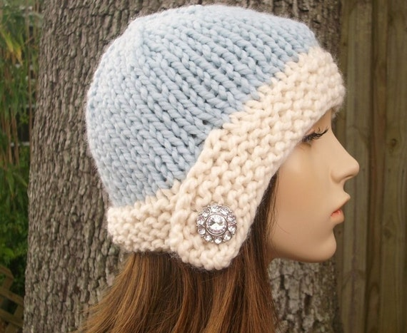 Knit Hat Womens Hat - Cloche Hat in Blue and Cream Knit Hat - Blue Hat Blue Beanie Womens Accessories Winter Hat