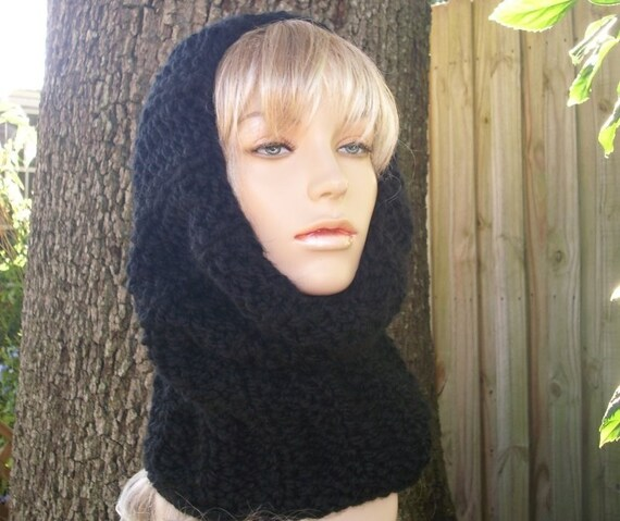Knit Cowl Scarf - Twilight Cowl in Black - Black Cowl - Black Scarf - Womens Accessories