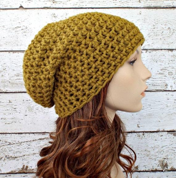 Crochet Hat Green Hat Green Womens Hat Green Mens Hat - Slouchy Beanie Hat in Moss Green Beanie Womens Accessories