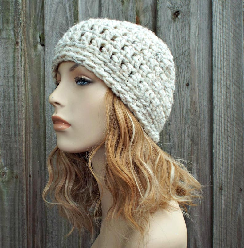 c2174f448a5 Tweed Cream Wheat Beanie Cream Crochet Hat Cream Womens Hat