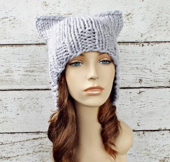 Pewter Grey Ear Flap Hat Cat Beanie Knit Hat Womens Hat - Grey Hat Grey Beanie Grey Cat Hat Womens Accessories Winter Hat