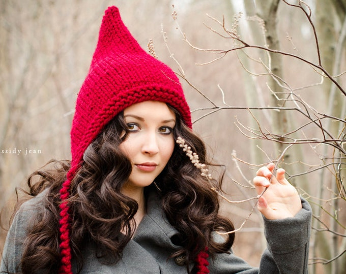 Adult Pixie Hat, Elf Hat, Chunky Knit Hat, Womens Hat, Winter Hat, Winter Accessories, Pixie Hood Cranberry Red