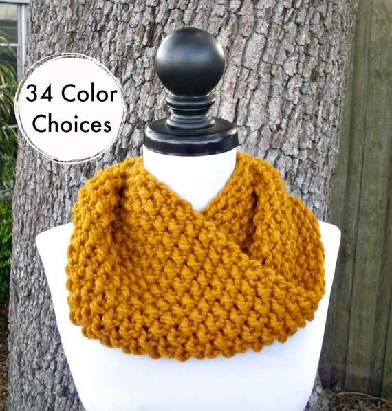Hand Knit Cowl Scarf - Mobius Cowl Butterscotch Golden Yellow Cowl - Yellow Cowl Yellow Scarf Womens Accessories