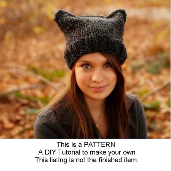 Instant Download Knitting Pattern - Knit Hat Pattern for Cat Beanie Hat Pattern - Womens Beanie Pattern - Womens Accessories