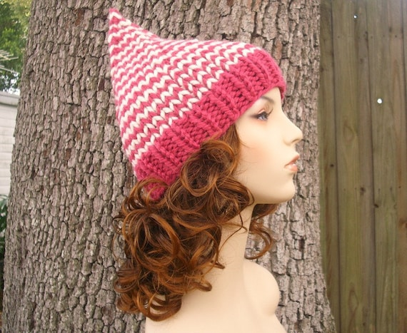 Knit Hat Womens Hat - Pink Gnome Hat in Raspberry and Cream Knit Hat - Pink Hat Pink Beanie Womens Accessories Winter Hat