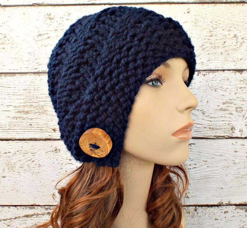 64de2654bd Knit Hat Womens Hat Hybrid Swirl Cloche Hat Navy Blue Knit