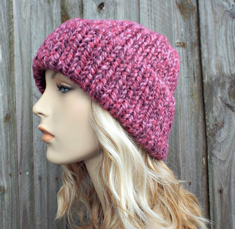 cd419d101f5 Double Thick Brim Knit Hat Pink Womens Hat Pink Beanie