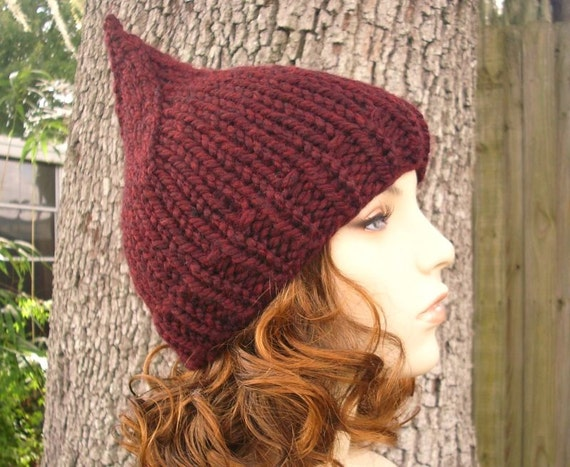 Red Knit Hat Red Womens Hat - Red Gnome Hat in Oxblood Wine Red Hat Red Beanie Womens Accessories Winter Hat