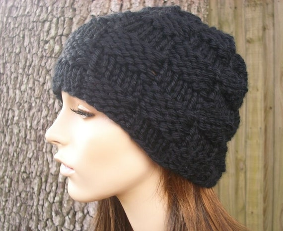 Knit Hat Black Mens Hat Black Womens Hat - Basket Weave Beanie in Black Knit Hat - Black Hat Black Beanie Womens Accessories Winter Hat