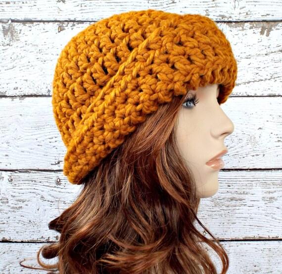Crochet Hat Womens Hat 1920s Flapper Hat - Garbo Cloche Hat in Mustard Yellow Crochet Hat - Yellow Hat Womens Accessories Winter Hat