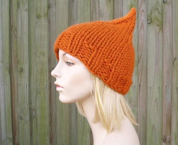 Knit Hat Womens Hat Orange Beanie Orange Hat - Orange Gnome Hat Pumpkin Orange Knit Hat Womens Accessories Winter Hat - READY TO SHIP