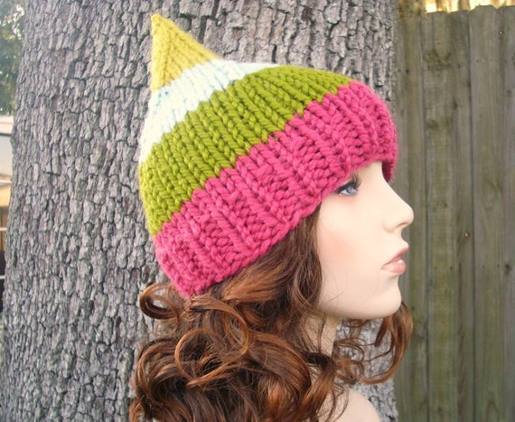 Knit Hat Womens Hat - Gnome Hat in Ludlow - Pink Green Blue Yellow Knit Hat - Womens Accessories Winter Hat