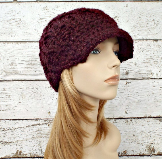 Knit Hat Womens Hat Burgundy Red Newsboy Hat - Amsterdam Cable Beanie Cabernet Wine Red Hat Knit Hat Womens Accessories