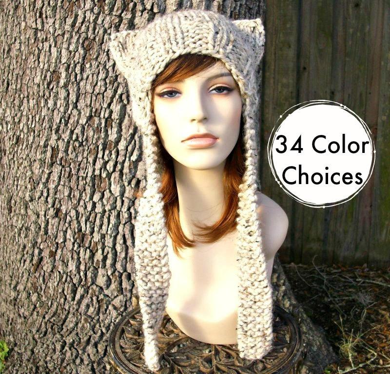 Womens Hat Ear Flap Cat Hat Oatmeal Knit Hat Oatmeal Hat Oatmeal