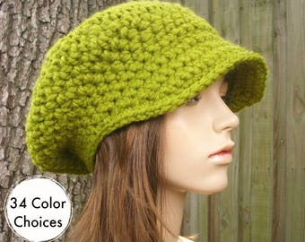 Lemongrass Green Newsboy Hat Womens Hat - Crochet Newsboy Hat Green Crochet Hat - Green Hat Green Beanie - 34 Color Choices