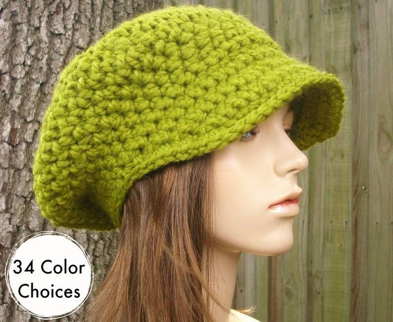 Lemongrass Green Newsboy Hat Womens Hat - Crochet Newsboy Hat Green Crochet  Hat - Green Hat Green Beanie