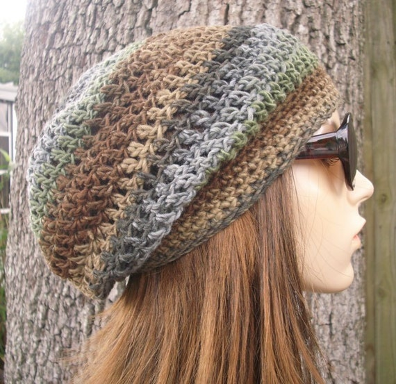 Crochet Hat Womens Hat Slouchy Beanie - Weekender Slouchy Hat in Grey Green Brown Crochet Hat - Womens Accessories Winter Hat