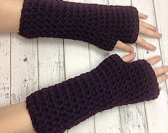 Crocheted Fingerless Gloves Mittens - Fingerless Gloves in Eggplant Purple - Purple Gloves Womens Accessories