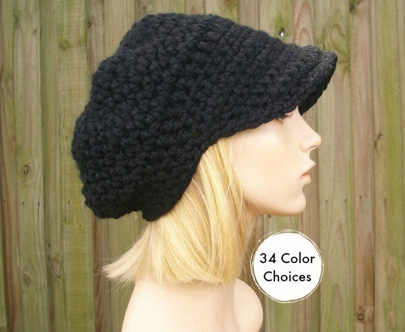 Crochet Hat Women Black Newsboy Hat - Crochet Newsboy Hat in Black - Black Hat Black Beanie Womens Accessories