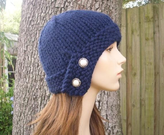 Knit Hat Womens Hat - Cloche Hat in Navy Blue Knit Hat - Navy Blue Hat Navy Blue Beanie Navy Hat Navy Beanie Womens Accessories Winter Hat