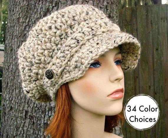 Oatmeal Womens Hat Oatmeal Newsboy Hat - Crochet Newsboy Hat Oatmeal Crochet Hat - Oatmeal Hat Womens Accessories