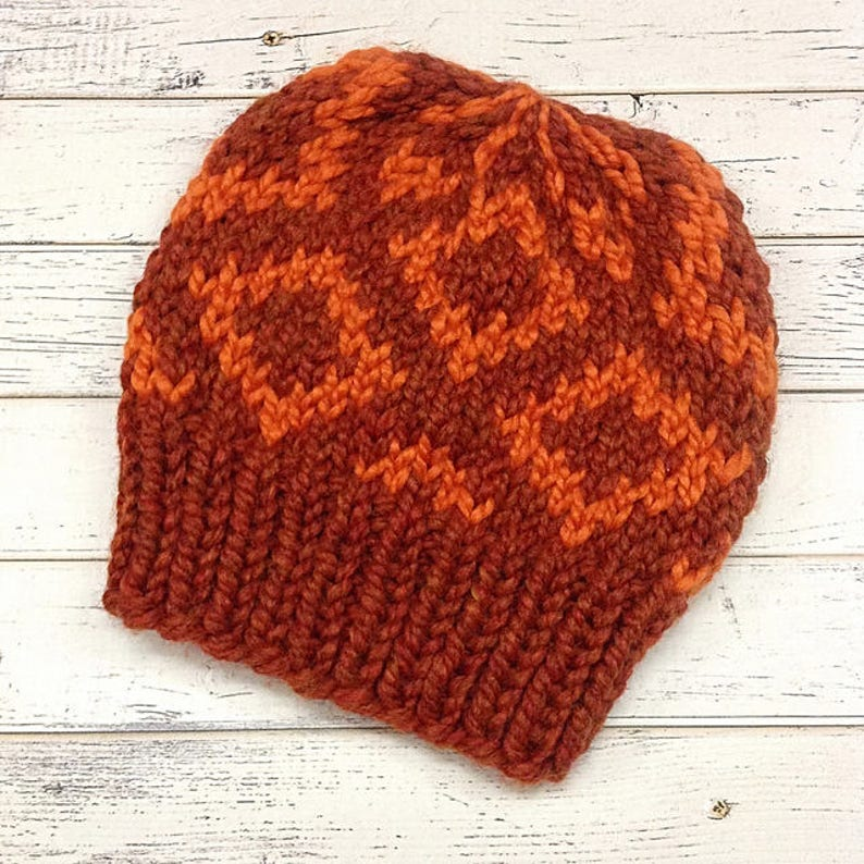 ef47c3e81d3 Pumpkin Spice Diamond Fair Isle Hat Orange Knit Hat Orange