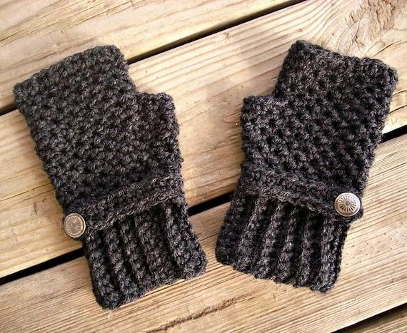 Crocheted Fingerless Gloves Mittens - Fingerless Gloves in Charcoal Dark Grey Heather - Grey Gloves Grey Mittens Womens Accessories