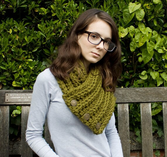 Crochet Cowl Chunky Scarf - Wellington Cowl in Olive Green Cowl Scarf - Green Cowl Green Scarf Olive Cowl Olive Scarf