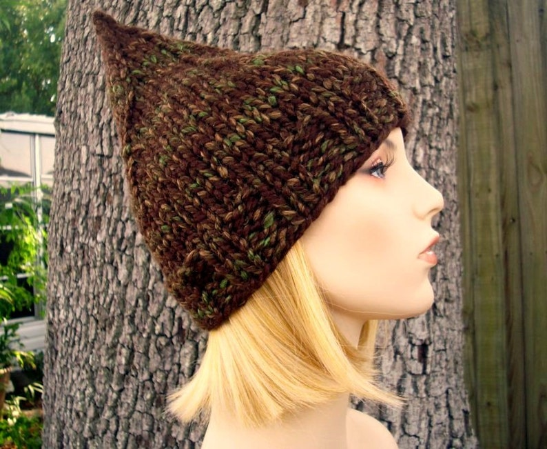 3e1052f30e1 Knit Hat Womens Hat Brown Gnome Hat Woodland Brown Knit Hat