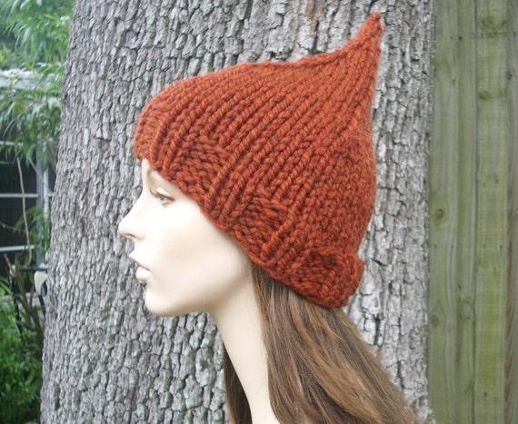 Knit Hat Womens Hat - Orange Gnome Hat in Rust Orange Knit Hat - Rust Hat Orange Hat Orange Beanie Rust Beanie Womens Accessories Winter Hat
