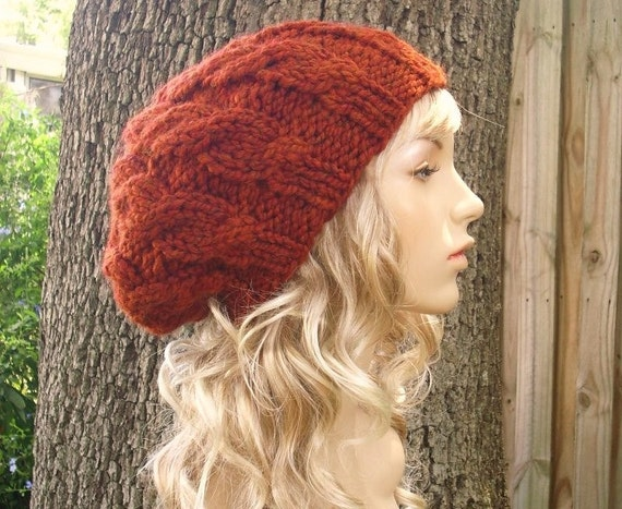 Knit Hat Orange Womens Hat Cable Beret Hat in Rust Orange  3b8947207b3