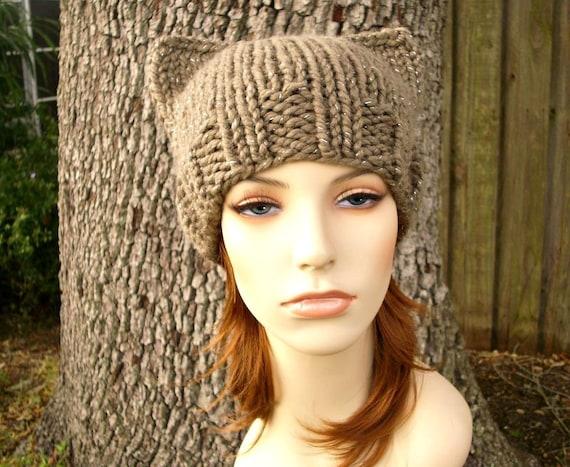 Knit Hat Womens Hat - Cat Beanie Hat in Gemstone Metallic Taupe Knit Hat - Brown Hat Womens Accessories