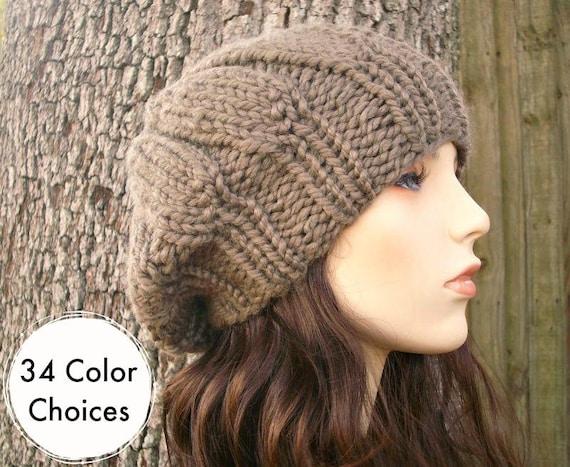 Hand Knit Hat Womens Hat - Urchin Beret Hat in Taupe Knit Hat - Taupe Hat Taupe Beret Brown Hat Brown Beret Brown Beanie
