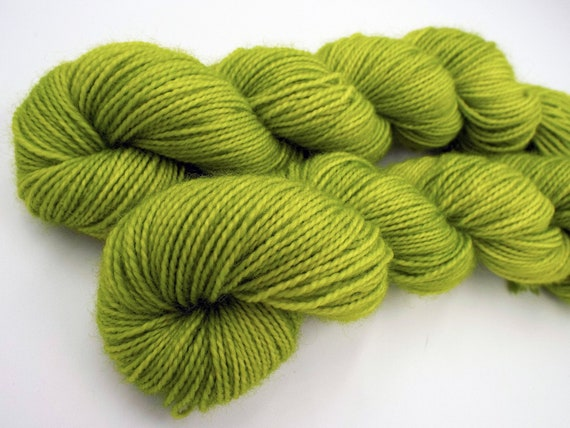 Hand Dyed Sock Yarn Superwash Wool Nylon 80/20 Fingering Weight Yarn Sock Yarn 50 Grams - Tonal Chartreuse Yarn Chartreuse Sock Yarn